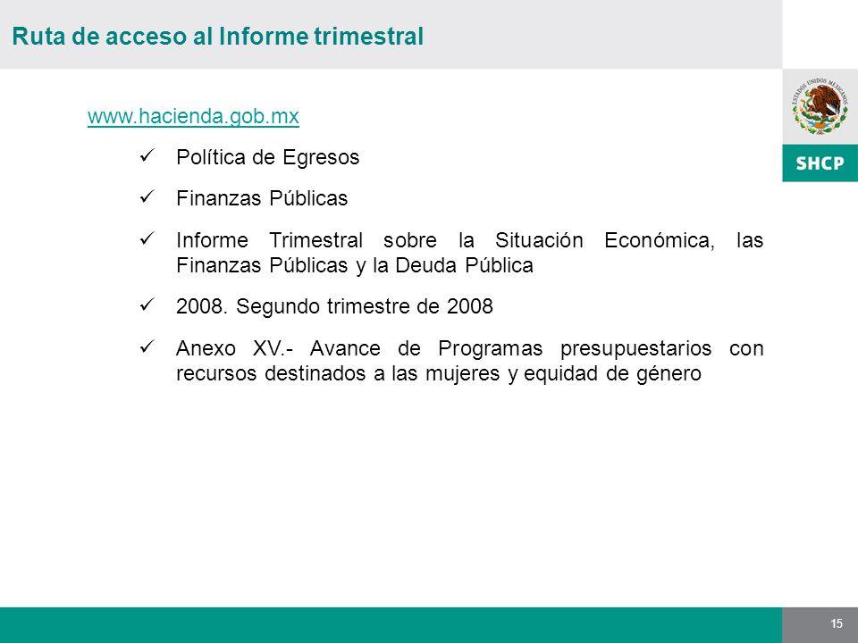 15 Ruta de acceso al Informe trimestral www.hacienda.gob.mx Política de Egresos Finanzas Públicas Informe Trimestral sobre la Situación Económica, las