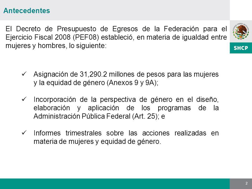 2 Antecedentes El Decreto de Presupuesto de Egresos de la Federación para el Ejercicio Fiscal 2008 (PEF08) estableció, en materia de igualdad entre mu