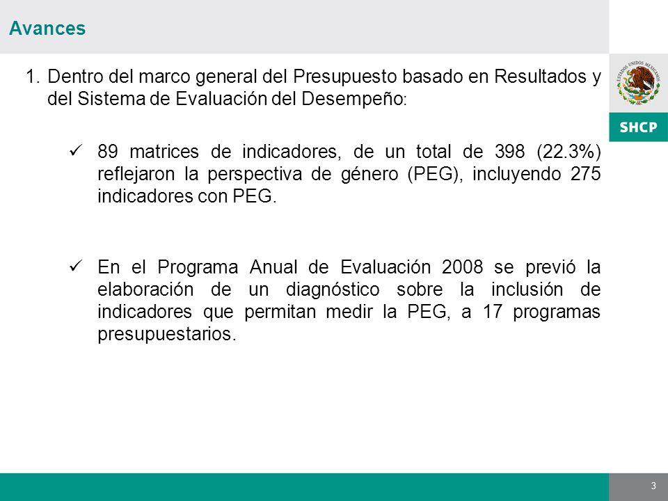 3 Avances 1.Dentro del marco general del Presupuesto basado en Resultados y del Sistema de Evaluación del Desempeño : 89 matrices de indicadores, de u