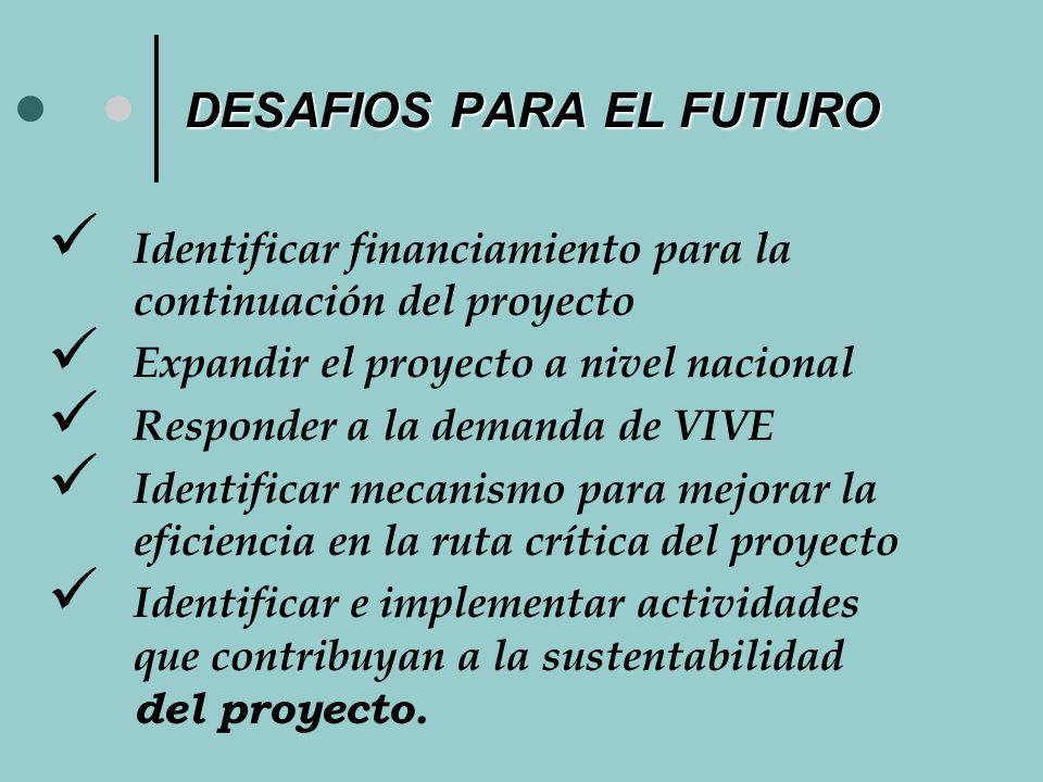 DESAFIOS PARA EL FUTURO Identificar financiamiento para la continuación del proyecto Expandir el proyecto a nivel nacional Responder a la demanda de VIVE Identificar mecanismo para mejorar la eficiencia en la ruta crítica del proyecto Identificar e implementar actividades que contribuyan a la sustentabilidad del proyecto.