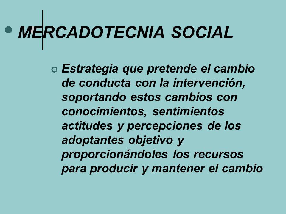 MERCADOTECNIA SOCIAL Estrategia que pretende el cambio de conducta con la intervención, soportando estos cambios con conocimientos, sentimientos actit