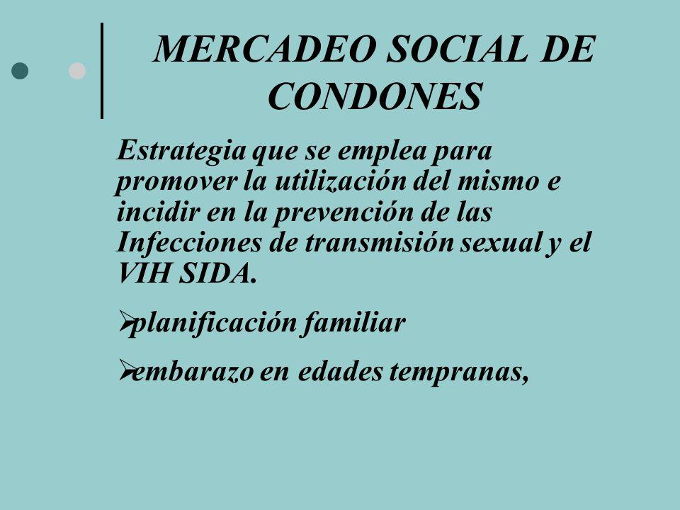 MERCADEO SOCIAL DE CONDONES Estrategia que se emplea para promover la utilización del mismo e incidir en la prevención de las Infecciones de transmisi