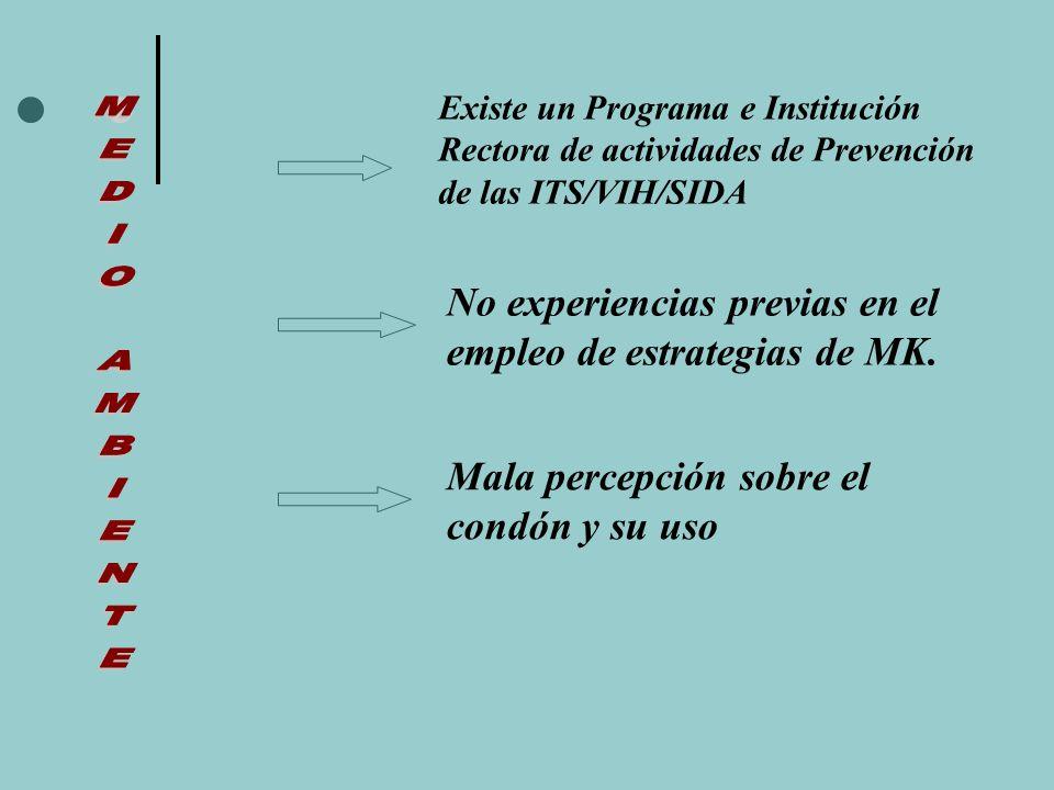 Existe un Programa e Institución Rectora de actividades de Prevención de las ITS/VIH/SIDA No experiencias previas en el empleo de estrategias de MK.