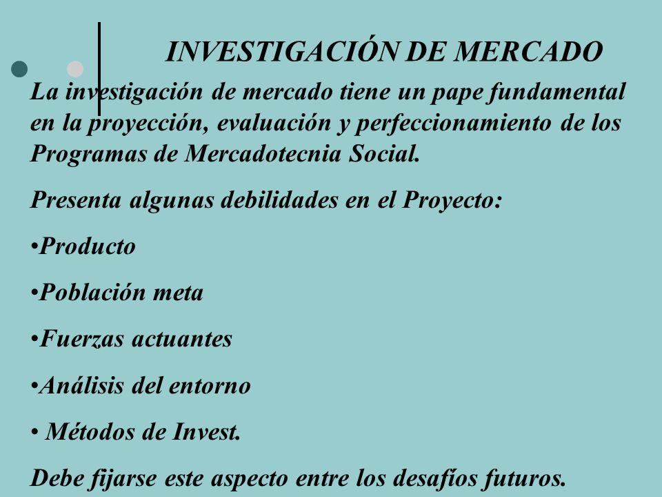 INVESTIGACIÓN DE MERCADO La investigación de mercado tiene un pape fundamental en la proyección, evaluación y perfeccionamiento de los Programas de Me