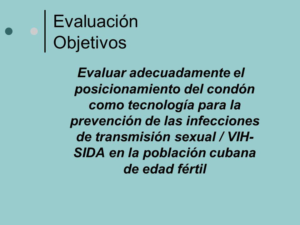 Evaluación Objetivos Evaluar adecuadamente el posicionamiento del condón como tecnología para la prevención de las infecciones de transmisión sexual / VIH- SIDA en la población cubana de edad fértil