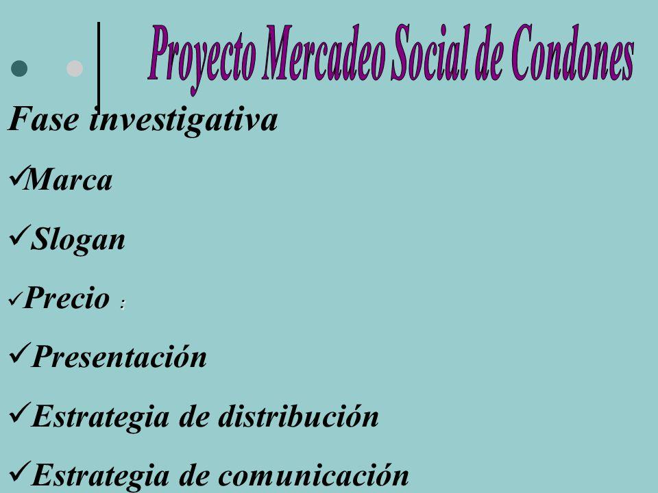 Fase investigativa Marca Slogan : Precio : Presentación Estrategia de distribución Estrategia de comunicación