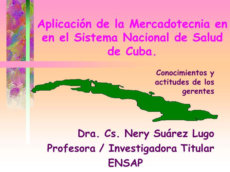 Aplicación de la Mercadotecnia en en el Sistema Nacional de Salud de Cuba. Dra. Cs. Nery Suárez Lugo Profesora / Investigadora Titular ENSAP Conocimie