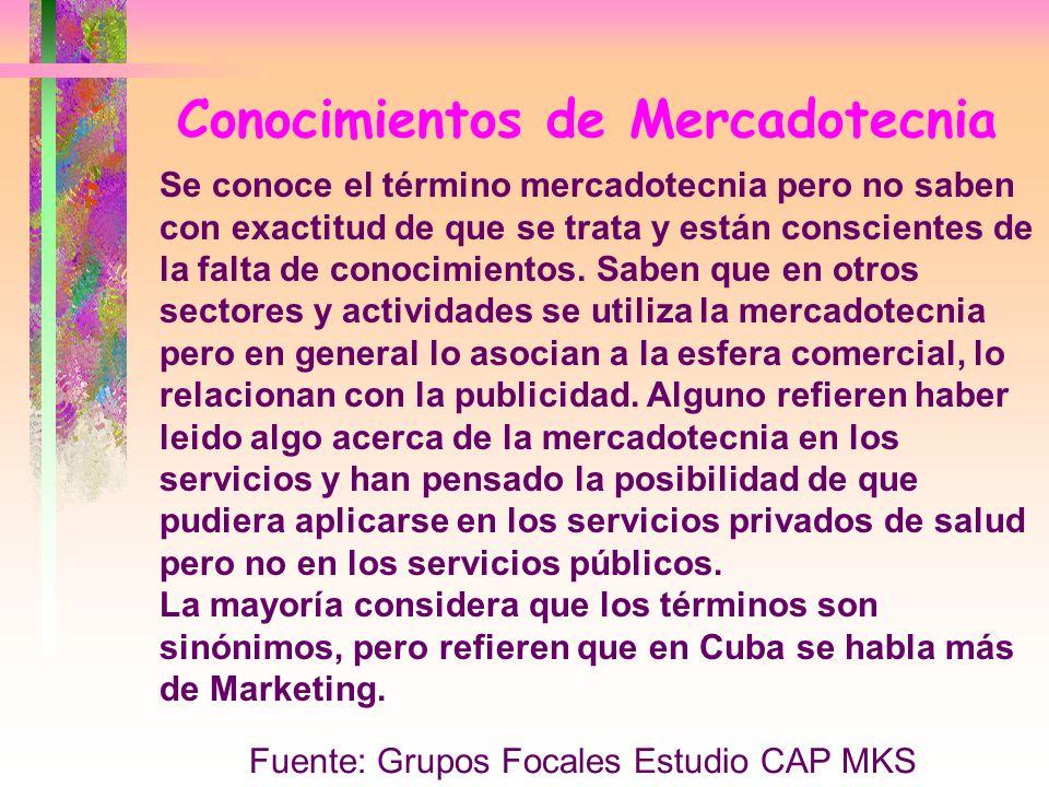Conocimientos de Mercadotecnia Se conoce el término mercadotecnia pero no saben con exactitud de que se trata y están conscientes de la falta de conoc
