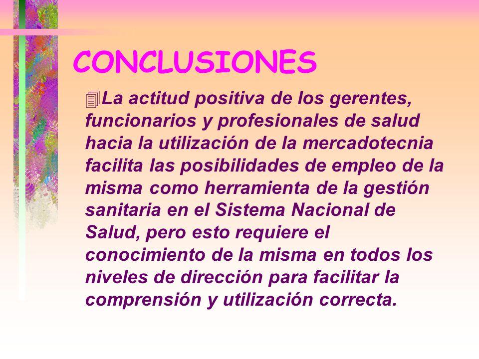CONCLUSIONES 4La actitud positiva de los gerentes, funcionarios y profesionales de salud hacia la utilización de la mercadotecnia facilita las posibil