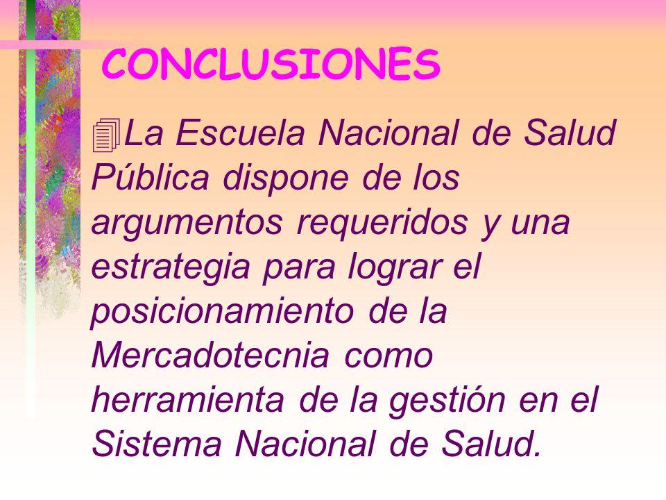 CONCLUSIONES 4La Escuela Nacional de Salud Pública dispone de los argumentos requeridos y una estrategia para lograr el posicionamiento de la Mercadot