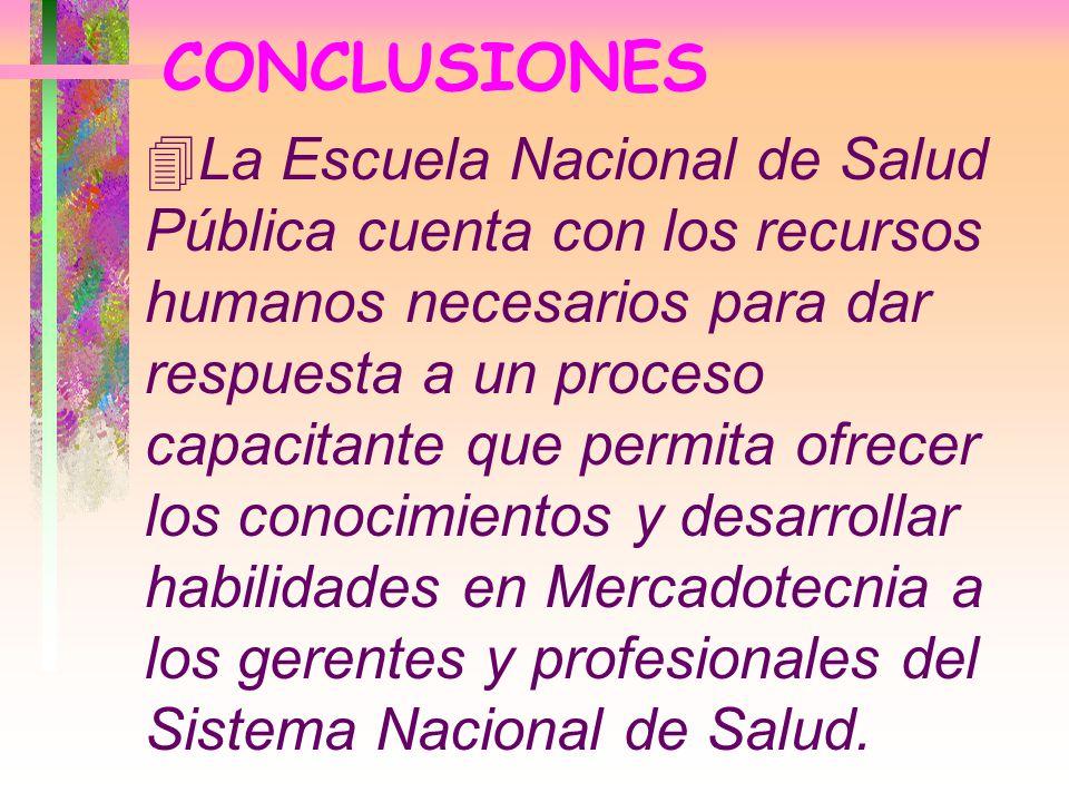 CONCLUSIONES 4La Escuela Nacional de Salud Pública cuenta con los recursos humanos necesarios para dar respuesta a un proceso capacitante que permita