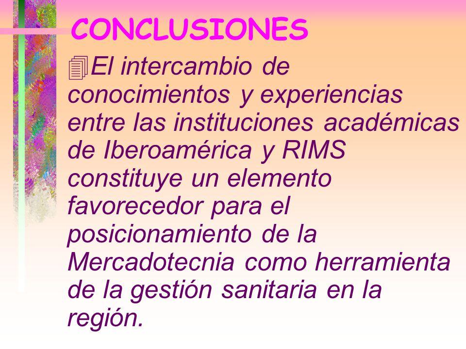 CONCLUSIONES 4El intercambio de conocimientos y experiencias entre las instituciones académicas de Iberoamérica y RIMS constituye un elemento favorece