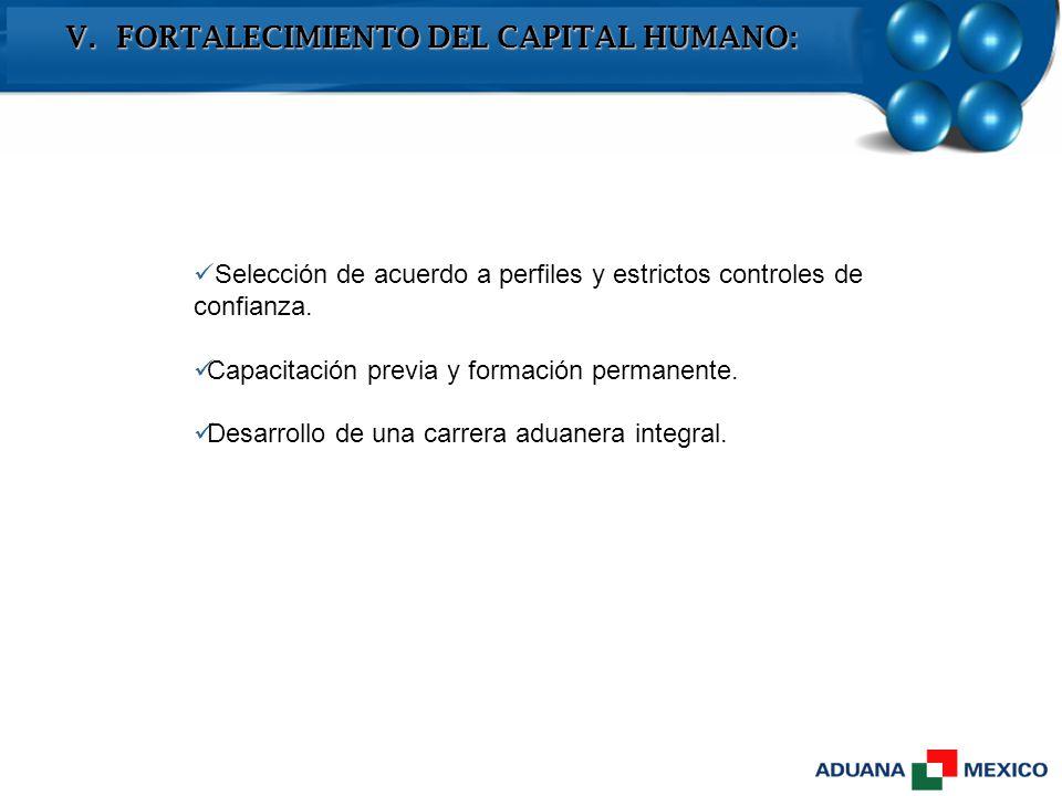 V. FORTALECIMIENTO DEL CAPITAL HUMANO: Selección de acuerdo a perfiles y estrictos controles de confianza. Capacitación previa y formación permanente.