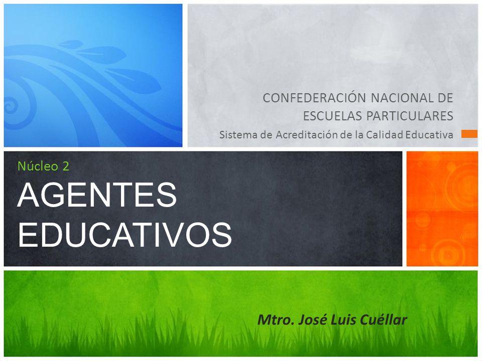 CONFEDERACIÓN NACIONAL DE ESCUELAS PARTICULARES Sistema de Acreditación de la Calidad Educativa Núcleo 2 AGENTES EDUCATIVOS Mtro.