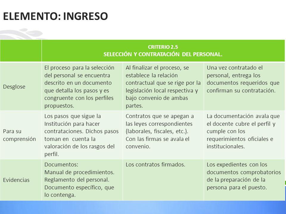 ELEMENTO: INGRESO CRITERIO 2.5 SELECCIÓN Y CONTRATACIÓN DEL PERSONAL.
