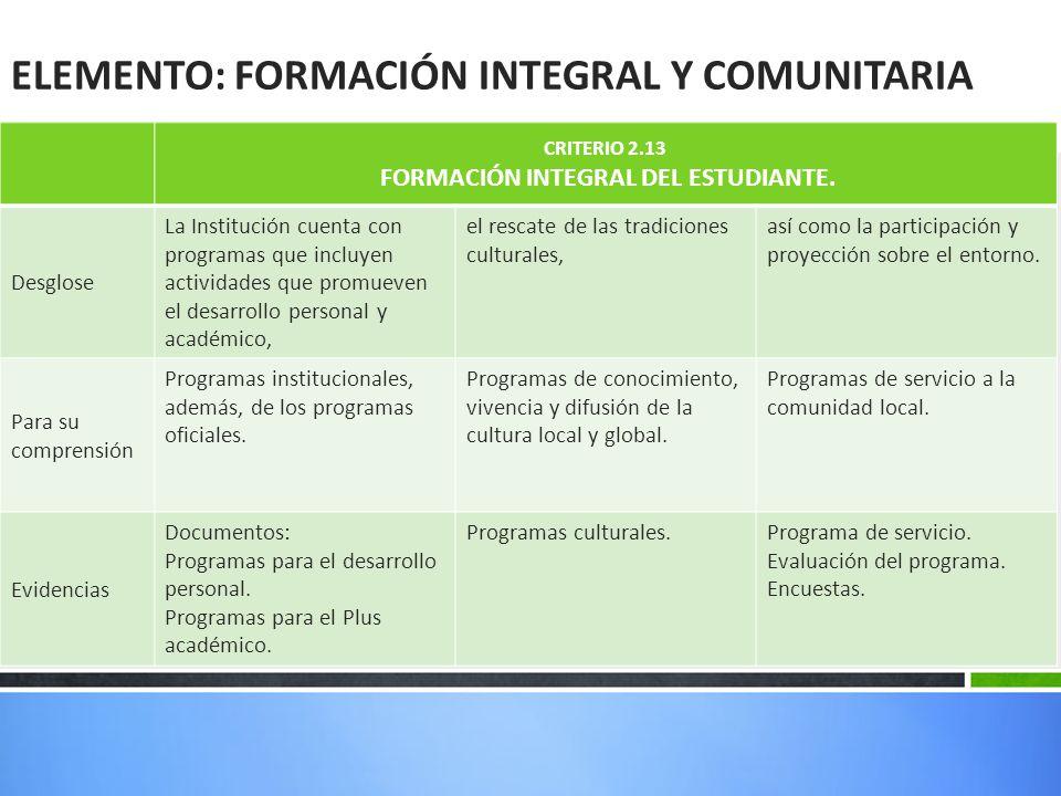 ELEMENTO: FORMACIÓN INTEGRAL Y COMUNITARIA CRITERIO 2.13 FORMACIÓN INTEGRAL DEL ESTUDIANTE.