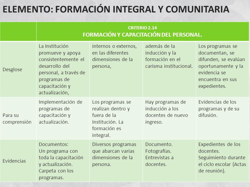 ELEMENTO: FORMACIÓN INTEGRAL Y COMUNITARIA CRITERIO 2.14 FORMACIÓN Y CAPACITACIÓN DEL PERSONAL.
