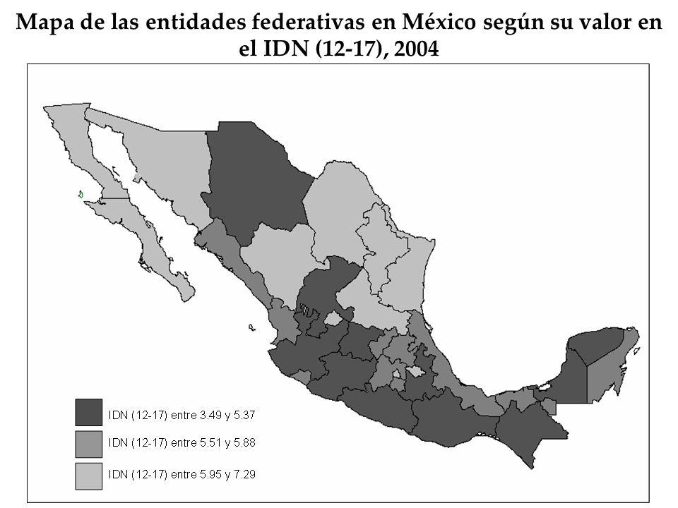 Mapa de las entidades federativas en México según su valor en el IDN (12-17), 2004