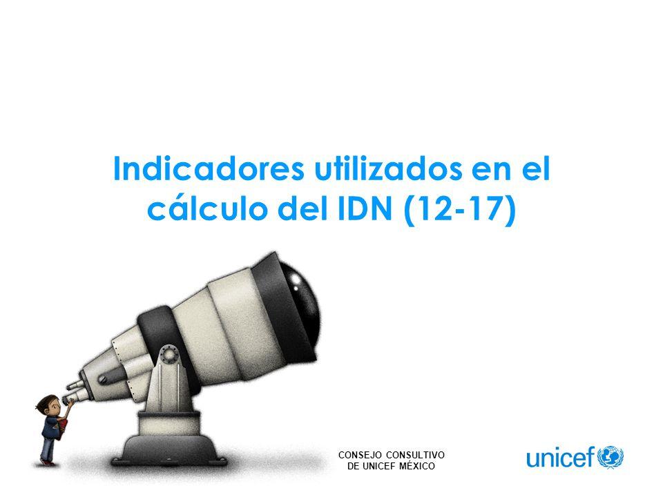 CONSEJO CONSULTIVO DE UNICEF MÉXICO Indicadores utilizados en el cálculo del IDN (12-17)