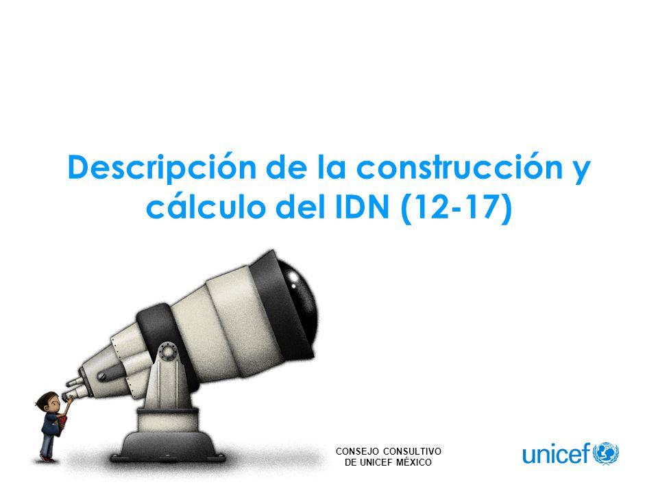CONSEJO CONSULTIVO DE UNICEF MÉXICO El cálculo del IDN (12-17) para hombres y mujeres, es el resultado del promedio simple entre las 3 dimensiones descritas y para el total, es el resultado del promedio ponderado por la población de cada sexo.