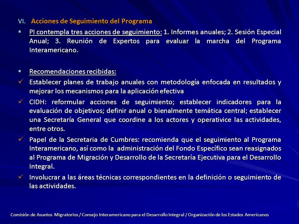VI. Acciones de Seguimiento del Programa PI contempla tres acciones de seguimiento: 1.