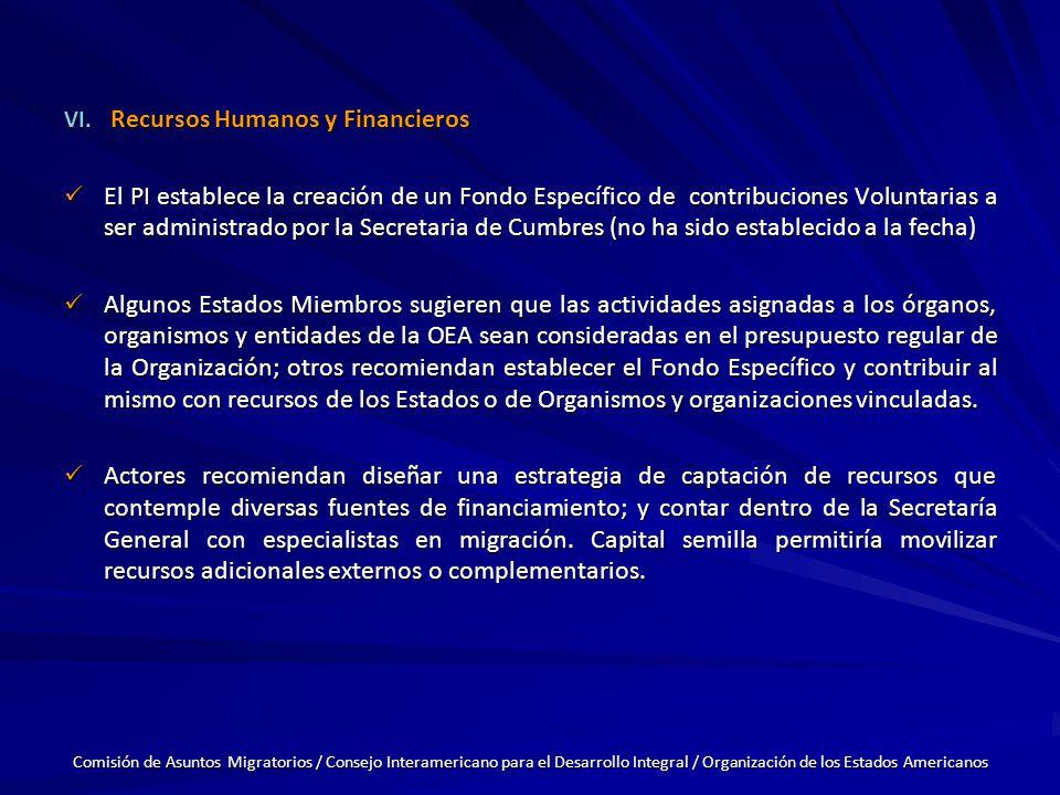 VI. Recursos Humanos y Financieros El PI establece la creación de un Fondo Específico de contribuciones Voluntarias a ser administrado por la Secretar