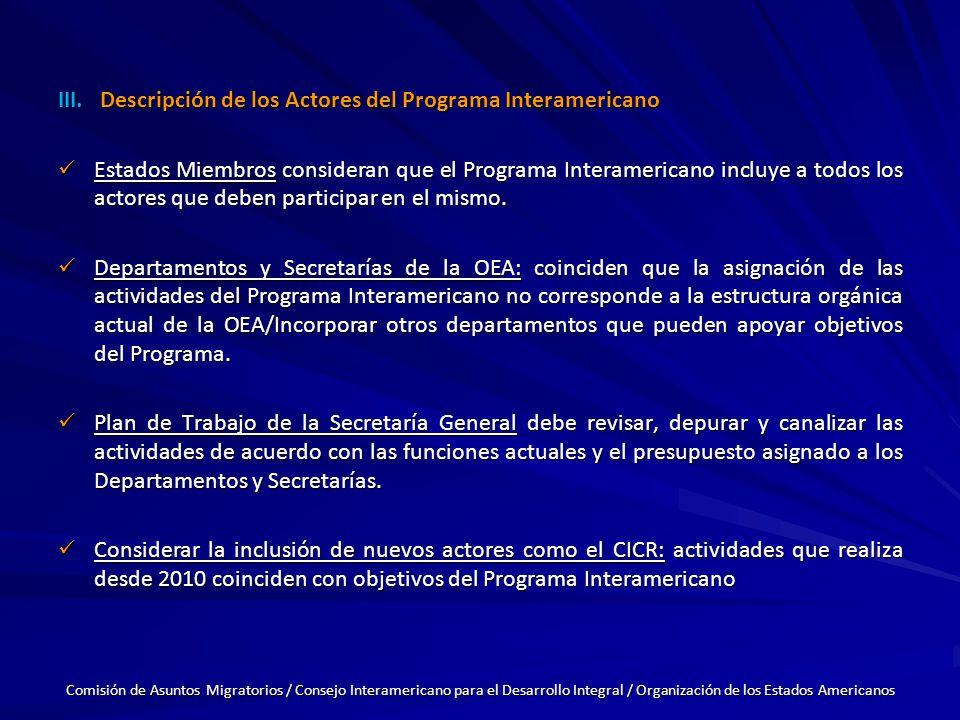 III.Descripción de los Actores del Programa Interamericano Estados Miembros consideran que el Programa Interamericano incluye a todos los actores que deben participar en el mismo.