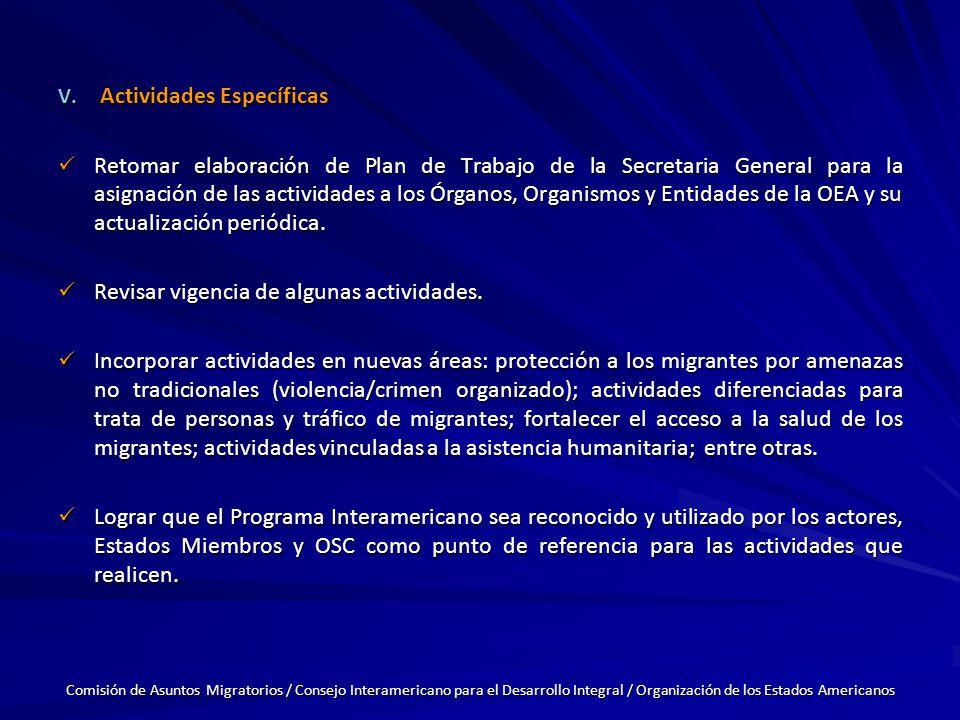 V. Actividades Específicas Retomar elaboración de Plan de Trabajo de la Secretaria General para la asignación de las actividades a los Órganos, Organi