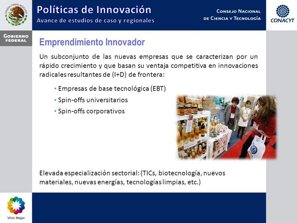 Emprendimiento Innovador Un subconjunto de las nuevas empresas que se caracterizan por un rápido crecimiento y que basan su ventaja competitiva en inn