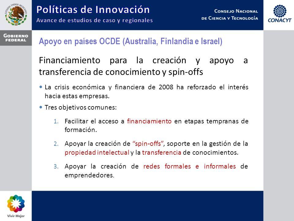 Apoyo en países OCDE (Australia, Finlandia e Israel) Financiamiento para la creación y apoyo a transferencia de conocimiento y spin-offs La crisis económica y financiera de 2008 ha reforzado el interés hacia estas empresas.
