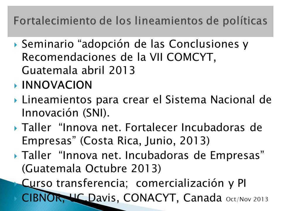 Seminario adopción de las Conclusiones y Recomendaciones de la VII COMCYT, Guatemala abril 2013 INNOVACION Lineamientos para crear el Sistema Nacional de Innovación (SNI).