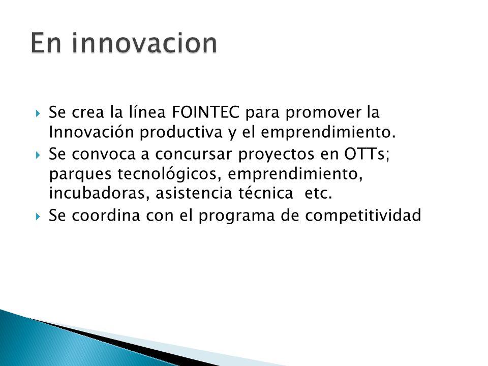Se crea la línea FOINTEC para promover la Innovación productiva y el emprendimiento.