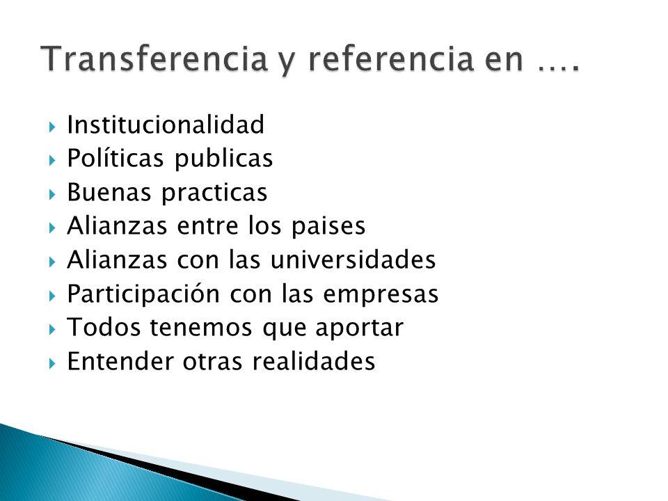 Institucionalidad Políticas publicas Buenas practicas Alianzas entre los paises Alianzas con las universidades Participación con las empresas Todos tenemos que aportar Entender otras realidades
