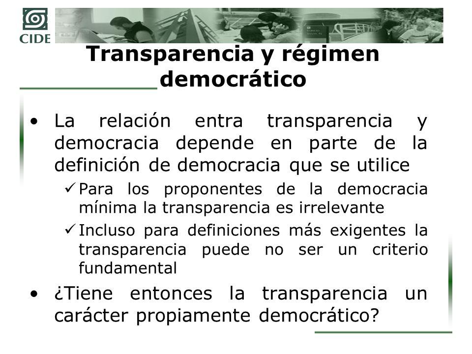 Transparencia y democracia liberal En la actualidad no basta con los elementos democráticos para legitimar a un gobierno.