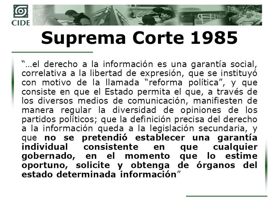 Suprema Corte 1996 Tal derecho [el de la información] es, por tanto, básico para el mejoramiento de una conciencia ciudadana que contribuya a que ésta sea más enterada, lo cual es esencial para el progreso de nuestra sociedad.