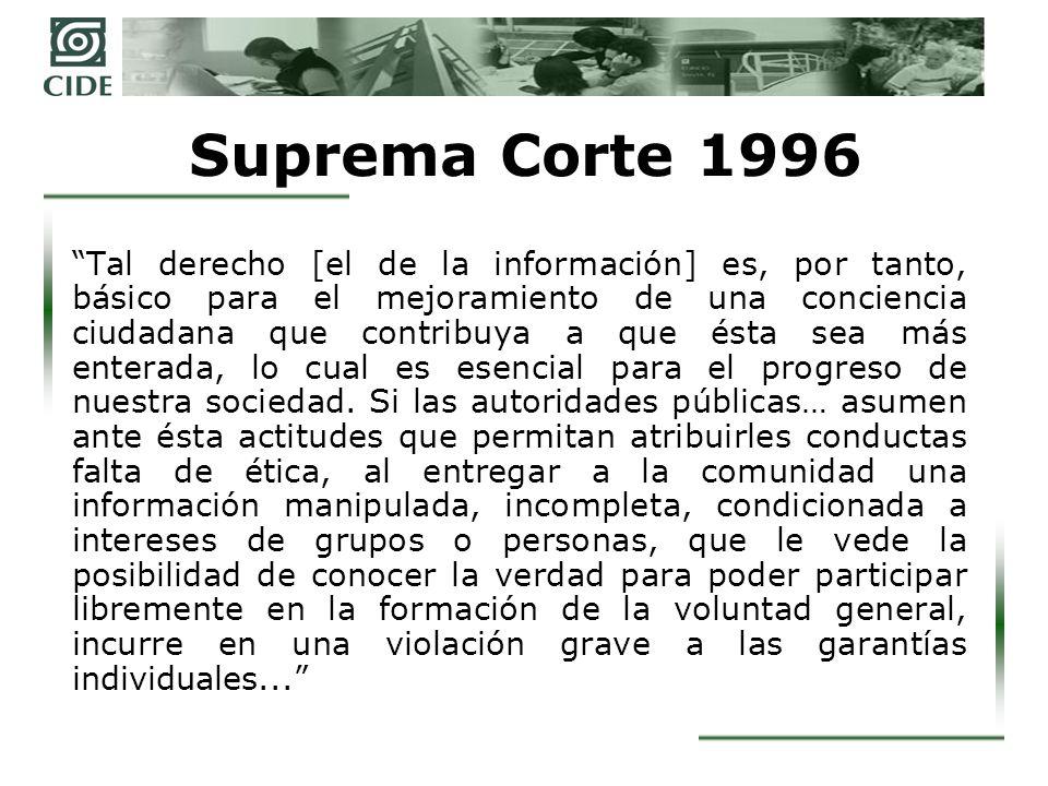 Suprema Corte después de 1996 El artículo 6 consagra el derecho de todo ciudadano a la información El derecho a la información es una garantía individual Sin embargo, no estableció las bases para su ejercicio