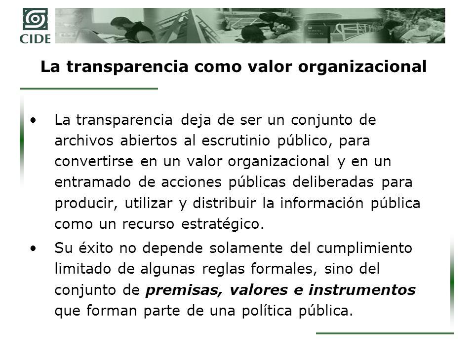 La transparencia como valor organizacional La transparencia deja de ser un conjunto de archivos abiertos al escrutinio público, para convertirse en un