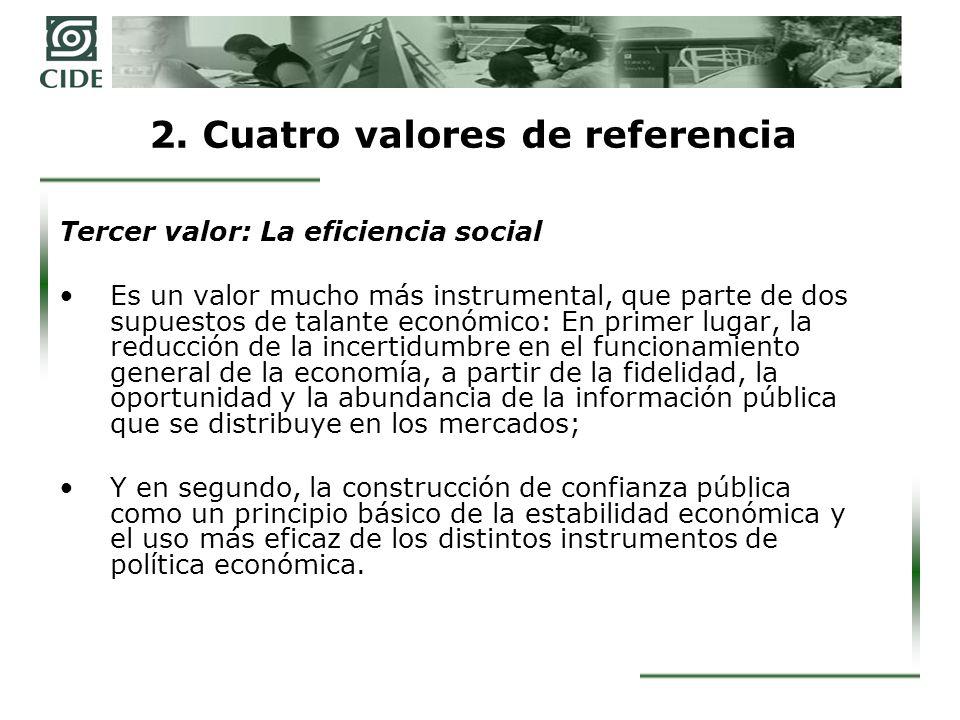 2. Cuatro valores de referencia Tercer valor: La eficiencia social Es un valor mucho más instrumental, que parte de dos supuestos de talante económico