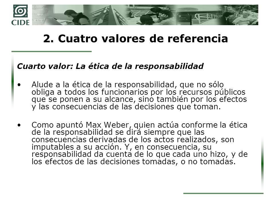 2. Cuatro valores de referencia Cuarto valor: La ética de la responsabilidad Alude a la ética de la responsabilidad, que no sólo obliga a todos los fu