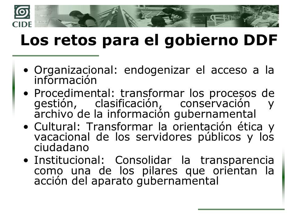 Los retos para el gobierno DDF Organizacional: endogenizar el acceso a la información Procedimental: transformar los procesos de gestión, clasificació