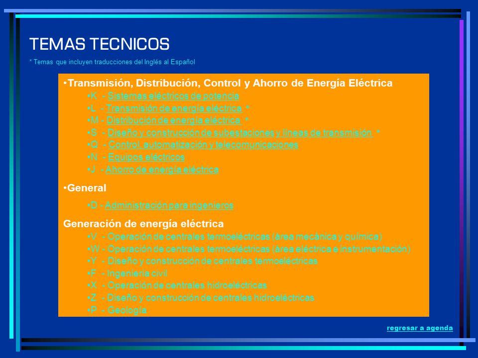 Transmisión, Distribución, Control y Ahorro de Energía Eléctrica K - Sistemas eléctricos de potenciaSistemas eléctricos de potencia L - Transmisión de
