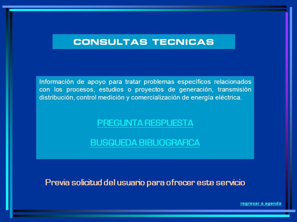 Información de apoyo para tratar problemas específicos relacionados con los procesos, estudios o proyectos de generación, transmisión distribución, co