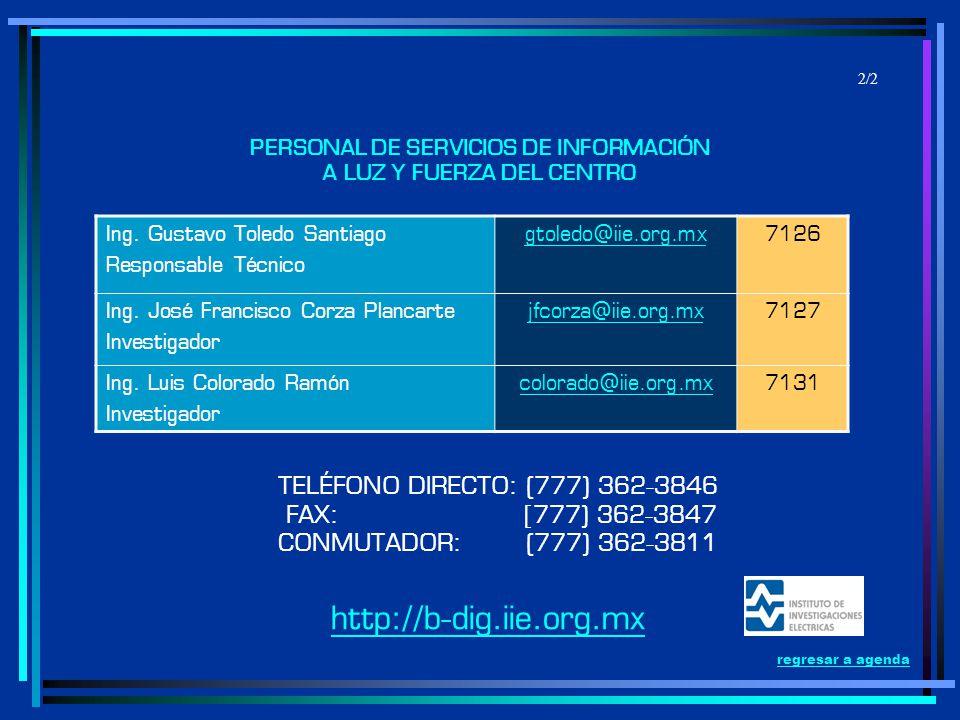 TELÉFONO DIRECTO: (777) 362-3846 FAX: [777) 362-3847 CONMUTADOR: (777) 362-3811 PERSONAL DE SERVICIOS DE INFORMACIÓN A LUZ Y FUERZA DEL CENTRO Ing. Gu