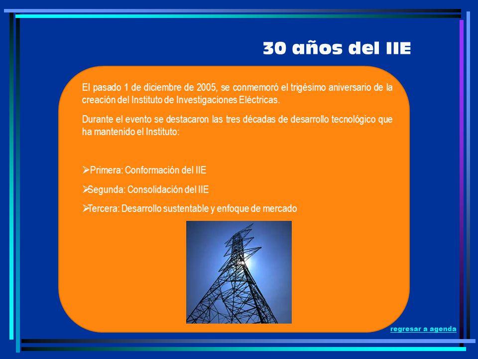 regresar a agenda 30 años del IIE El pasado 1 de diciembre de 2005, se conmemoró el trigésimo aniversario de la creación del Instituto de Investigacio
