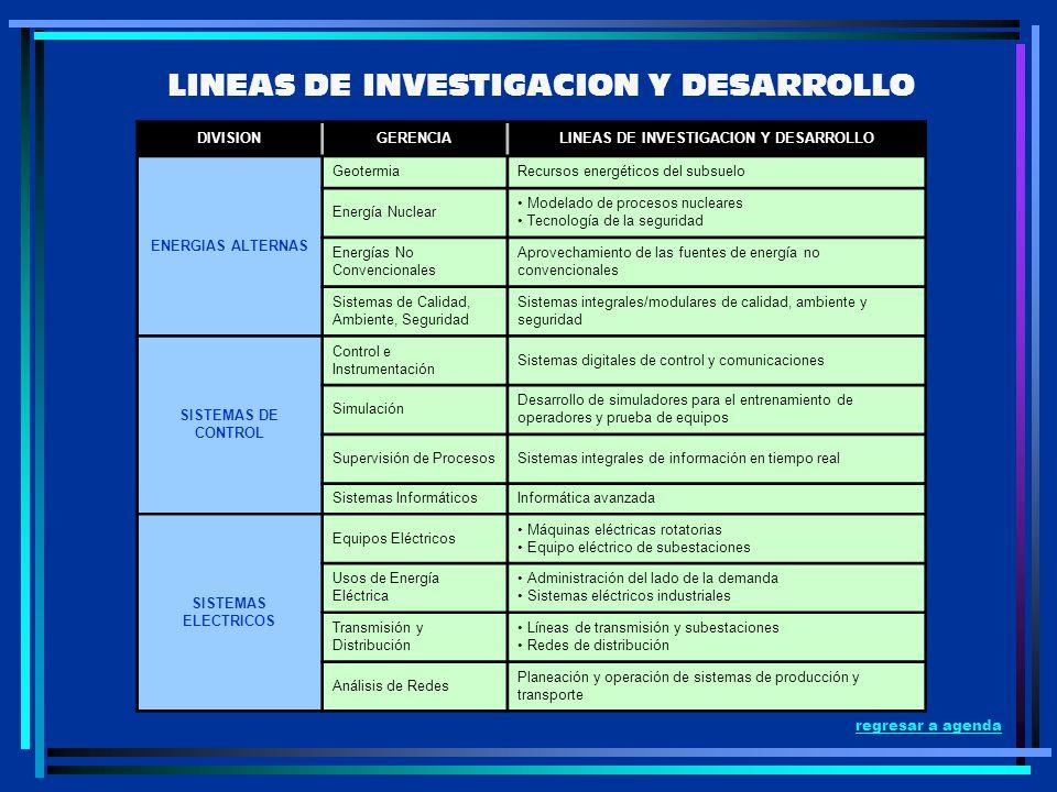 LINEAS DE INVESTIGACION Y DESARROLLO DIVISIONGERENCIALINEAS DE INVESTIGACION Y DESARROLLO ENERGIAS ALTERNAS GeotermiaRecursos energéticos del subsuelo