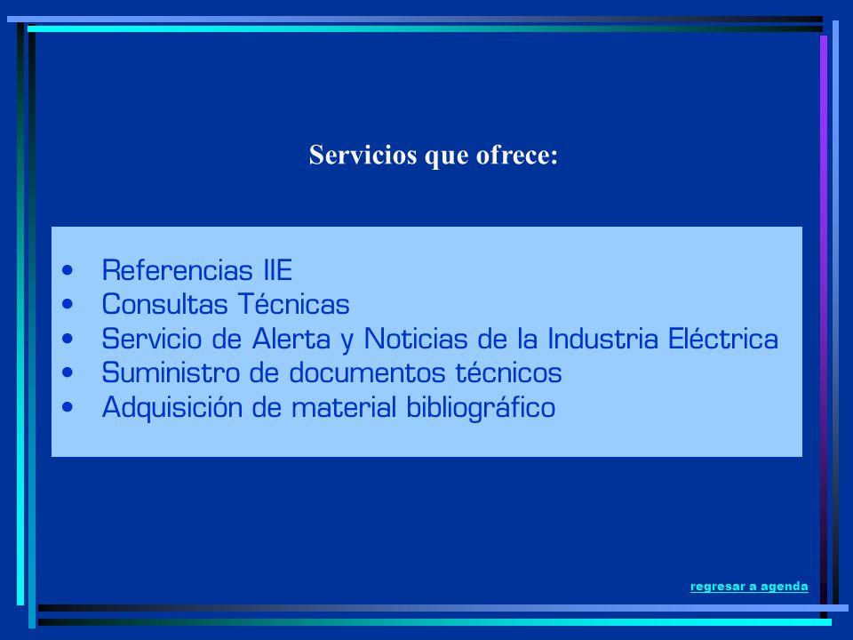 Servicios que ofrece: Referencias IIE Consultas Técnicas Servicio de Alerta y Noticias de la Industria Eléctrica Suministro de documentos técnicos Adq
