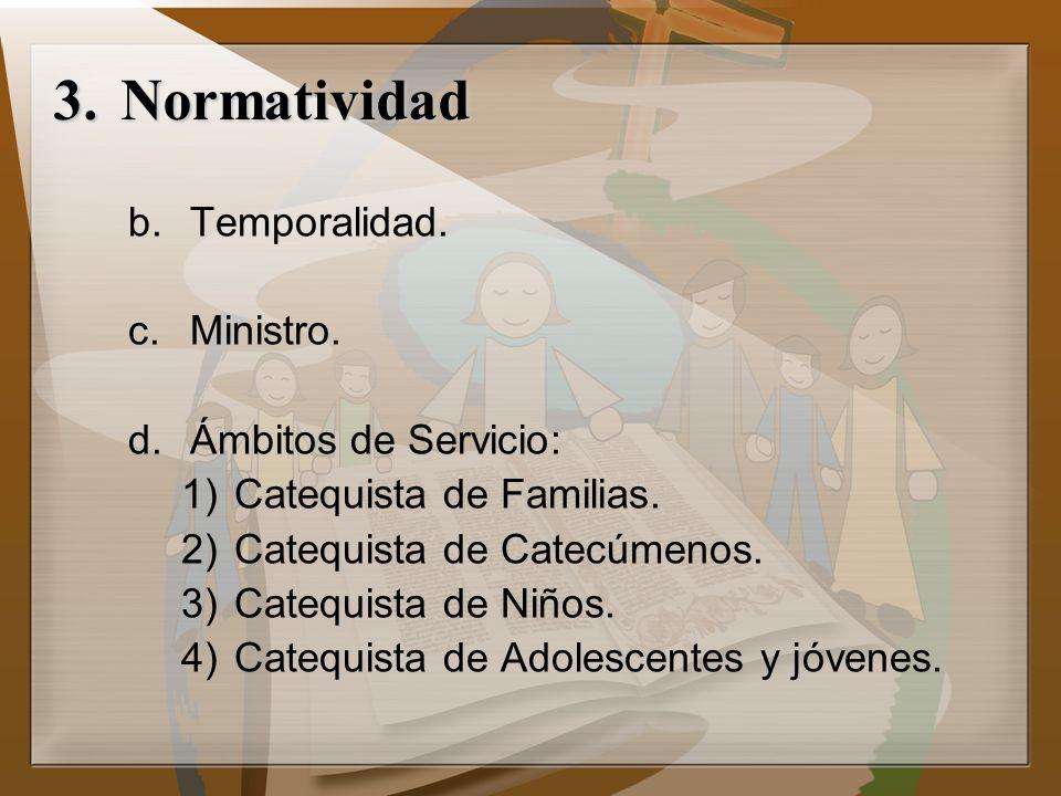 b.Temporalidad. c.Ministro. d.Ámbitos de Servicio: 1)Catequista de Familias. 2)Catequista de Catecúmenos. 3)Catequista de Niños. 4)Catequista de Adole