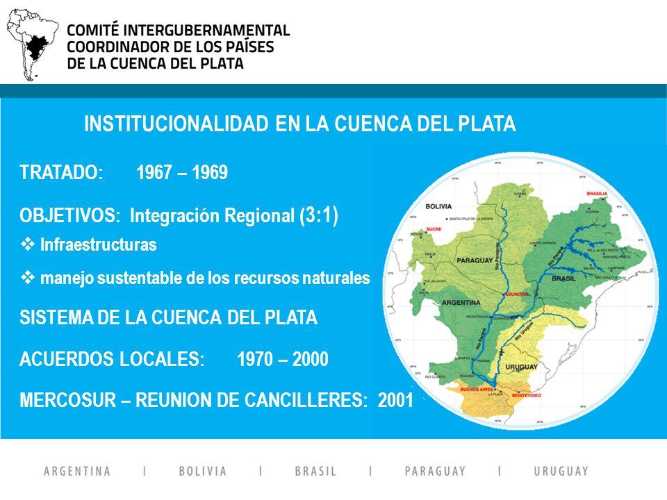 Suscripto en Abril de 1969 OBJETIVOS: Afianzar la institucionalización del sistema Mancomunar esfuerzos para promover el desarrollo armónico y la integración física de la región del Plata TRATADO: 1967 – 1969 OBJETIVOS: Integración Regional ( 3:1) Infraestructuras manejo sustentable de los recursos naturales SISTEMA DE LA CUENCA DEL PLATA ACUERDOS LOCALES: 1970 – 2000 MERCOSUR – REUNION DE CANCILLERES: 2001 INSTITUCIONALIDAD EN LA CUENCA DEL PLATA