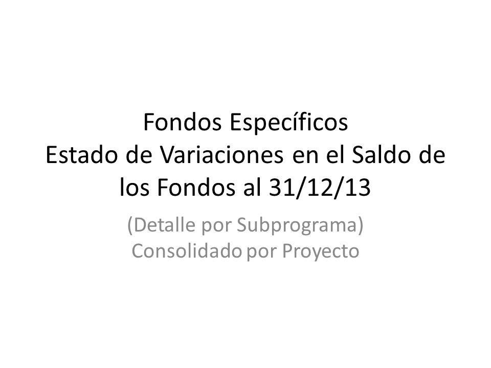 Fondos Específicos Estado de Variaciones en el Saldo de los Fondos al 31/12/13 (Detalle por Subprograma) Consolidado por Proyecto