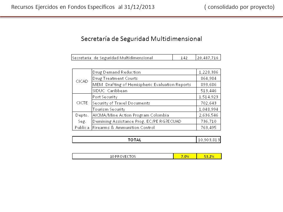 Recursos Ejercidos en Fondos Específicos al 31/12/2013 ( consolidado por proyecto) Secretaría de Seguridad Multidimensional
